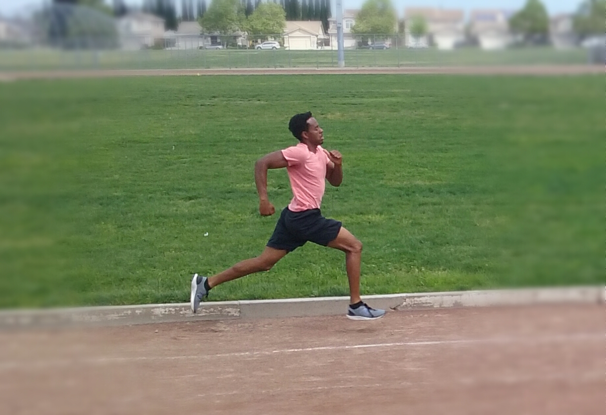 Two-sport athlete Malik Vega-Tatum during track practice.