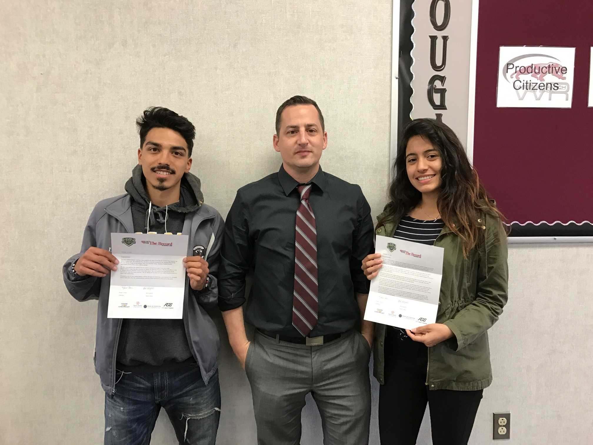 Weston Ranch student-athletes Tomas Huerta and Iris Carrillo receive their Best of the West honors from Athletic Director Jason Furtado.
