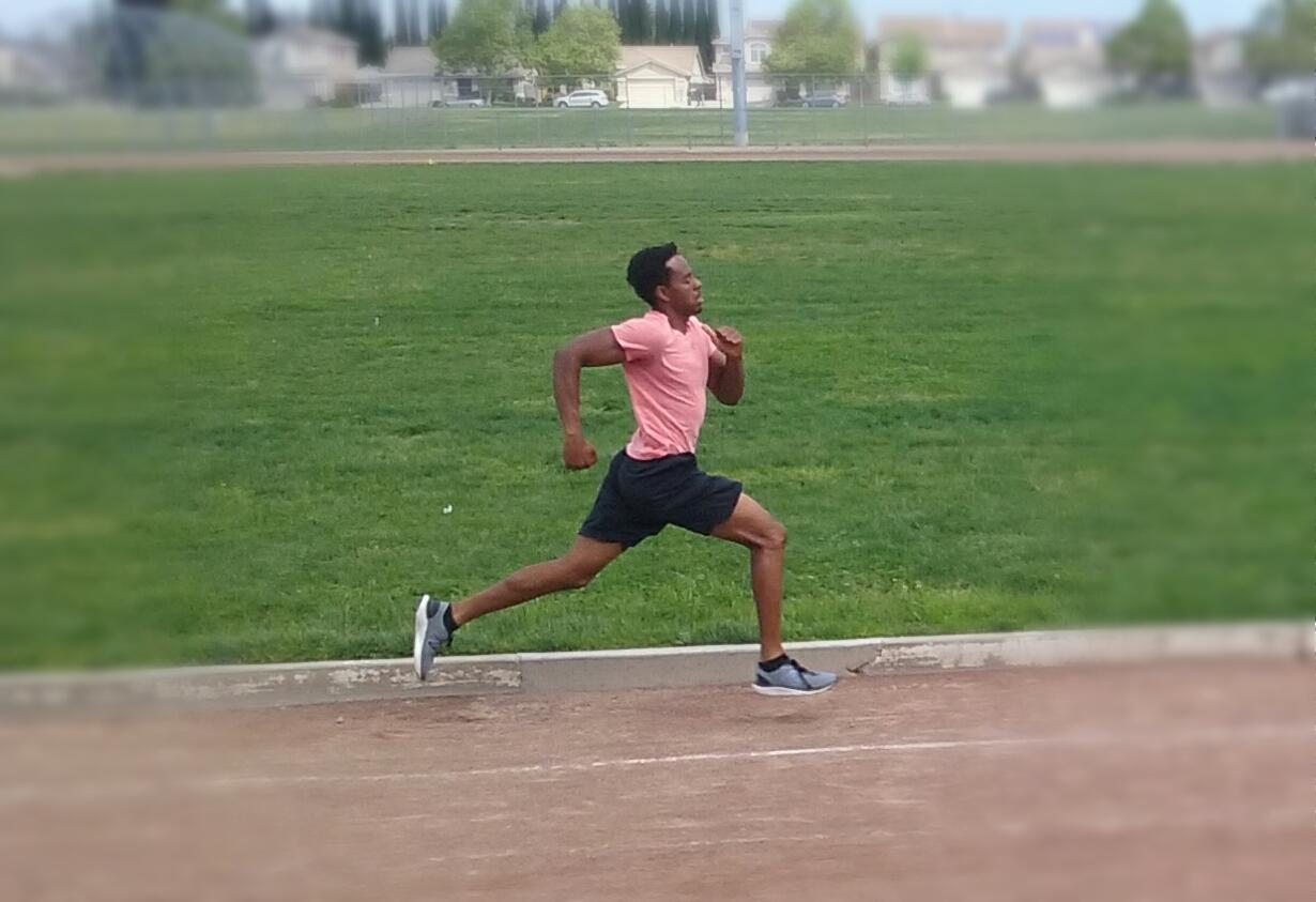 Two-sport athlete Malik Vega-Tatum during track practice.
